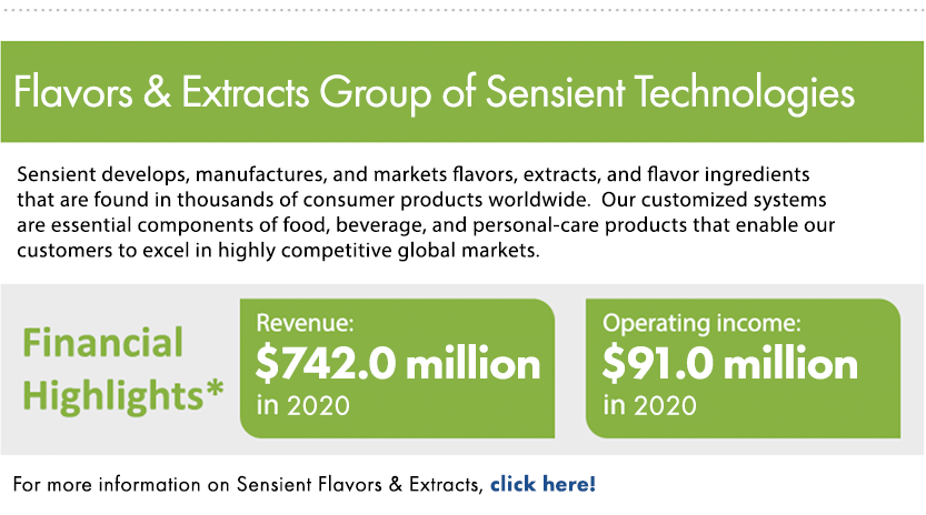 Flavors & Extracts Group of Sensient Technologies